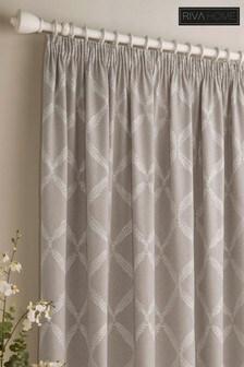 Olivia Linen Look Lattice Print Pencil Pleat Curtains by Riva Home