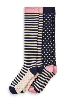 Spot Stripe Knee High Welly Socks Two Pack
