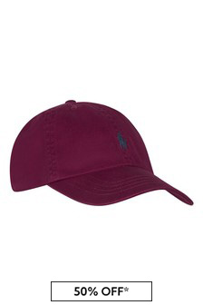 Boys Burgundy Cotton Chino Cap