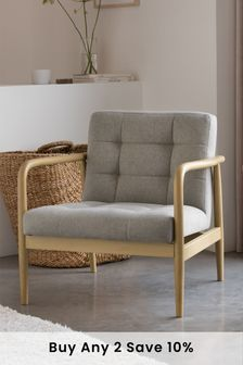Brushed Plain Warm Grey Benji Armchair With Mid Legs