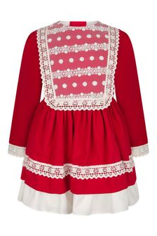 Girls Red/Ivory Lace Trim Dress