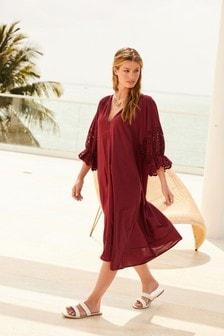 Burgundy Broderie Sleeve Kaftan Dress