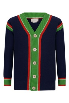 Boys Navy Knitted Wool Cardigan