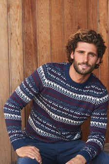 Blue/Ecru Fairisle Pattern Men's Christmas Jumper