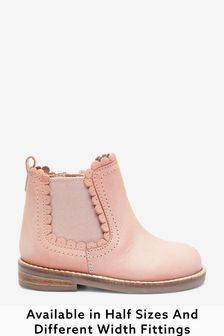 Pink Leather Wide Fit (G) Little Luxe™ Scallop Chelsea Boots