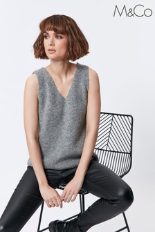 M&Co Grey Cable Knit Vest