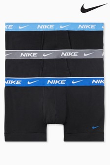 Nike Black Everyday Cotton Stretch Trunks 3 Pack