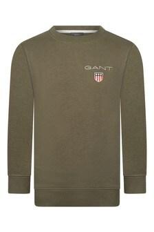 Boys Green Cotton Shield Logo Sweater