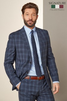 Blue Slim Fit Slim Fit Signature Check Suit: Jacket