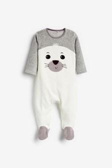 White Seal Velour Sleepsuit (0-18mths)