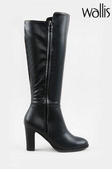 Wallis Harbour Black Zip Detail High Leg Boots