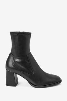 Black Regular/Wide Fit Square Toe Zip Sock Boots