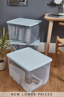 Set of 3 Wham 50Ltr Plastic Storage Boxes And Lids