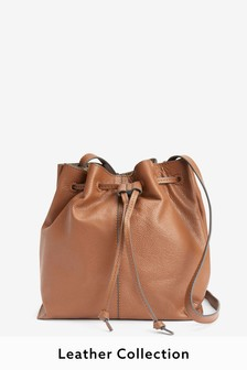 Tan Leather Drawstring Leather Bucket Bag