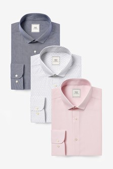 Navy/Pink Print And Texture Regular Fit Single Cuff Shirts Three Pack