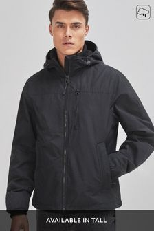 Black Shower Resistant Lightweight Hooded Jacket With Fleece Lining