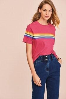Pink Rainbow Stripe Crew Neck T-Shirt