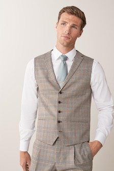 Taupe Check Suit: Waistcoat