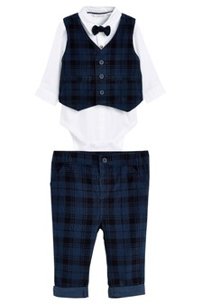 Navy Four Piece Checked Cord Trousers, Waistcoat, Bow Tie And Bodysuit Set (0mths-2yrs)