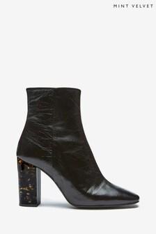 Mint Velvet Black Lyla Square Toe Heeled Boots