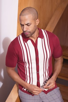 Red Vertical Stripe Button Through Knitted Polo