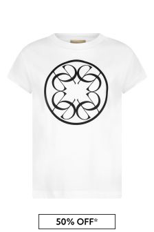 Girls White Cotton Logo T-Shirt