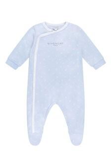 Boys Blue Logo Print Babygrow