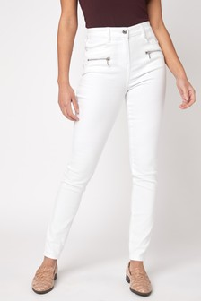 White Zipped Skinny Jeans