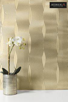 Metallic Wavy Stripe Foil Wallpaper by Arthouse