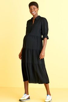 Black Maternity/Nursing Tiered Midi Shirt Dress