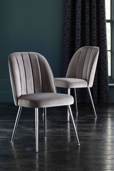 Opulent Velvet Steel Set Of 2 Stella Dining Chairs with Chrome Legs