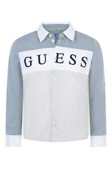 Boys Blue/Grey Striped Cotton Shirt