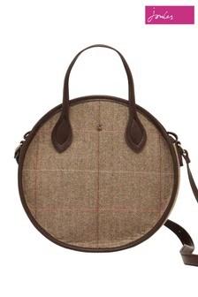 Joules Brown Adeline Mini Round Tweed Bag