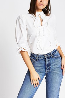 River Island White Cut Work Tie Front Blouse