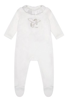 Girls Ivory Velour Babygrow