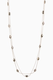Gold Tone Pavé Rope Necklace