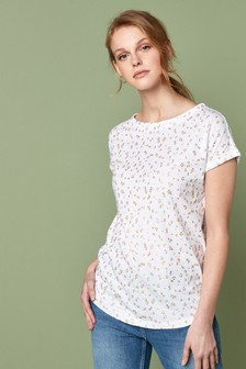 White Glitter Animal Print Curved Hem T-Shirt