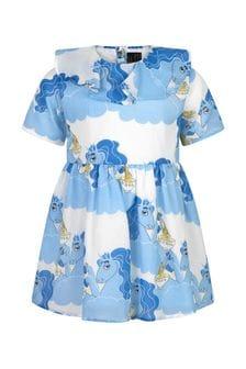فستان قطن أزرق داكن بناتي