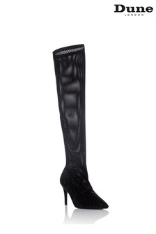 Dune London Sacramentie Black Embellished Over The Knee Boots