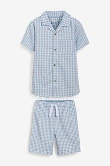 Blue Check Button Through Short Pyjamas (9mths-8yrs)