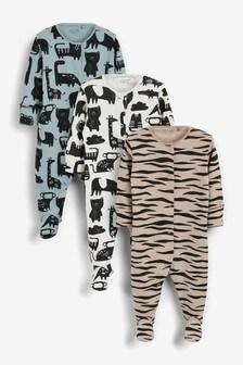 3 Pack Print Sleepsuits (0mths-2yrs)