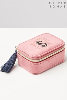 Oliver Bonas Sol Pink Velvet Alphabet S Travel Jewellery Box