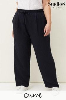 Studio 8 Blue Bethany Linen Blend Trousers