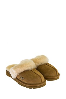 Kids Tan Sheepskin Cozy Slippers