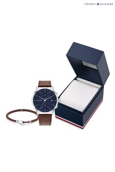 Tommy Hilfiger Mens Watch And Leather Weave Bracelet Set