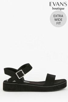 Evans Extra Wide Fit Black Flatform Sandals