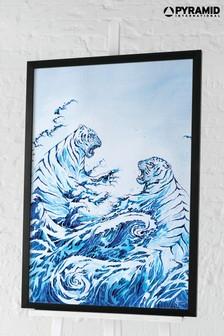 Pyramid Marc Allante Crashing Waves Framed Poster
