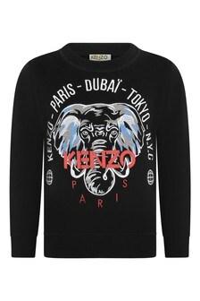 Boys Black Cotton Logo Sweater