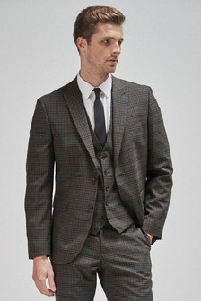 Grey/Brown Tailored Fit Check Suit: Jacket