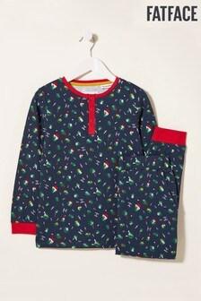 FatFace Blue Brussel Sprout Jersey Pyjama Set